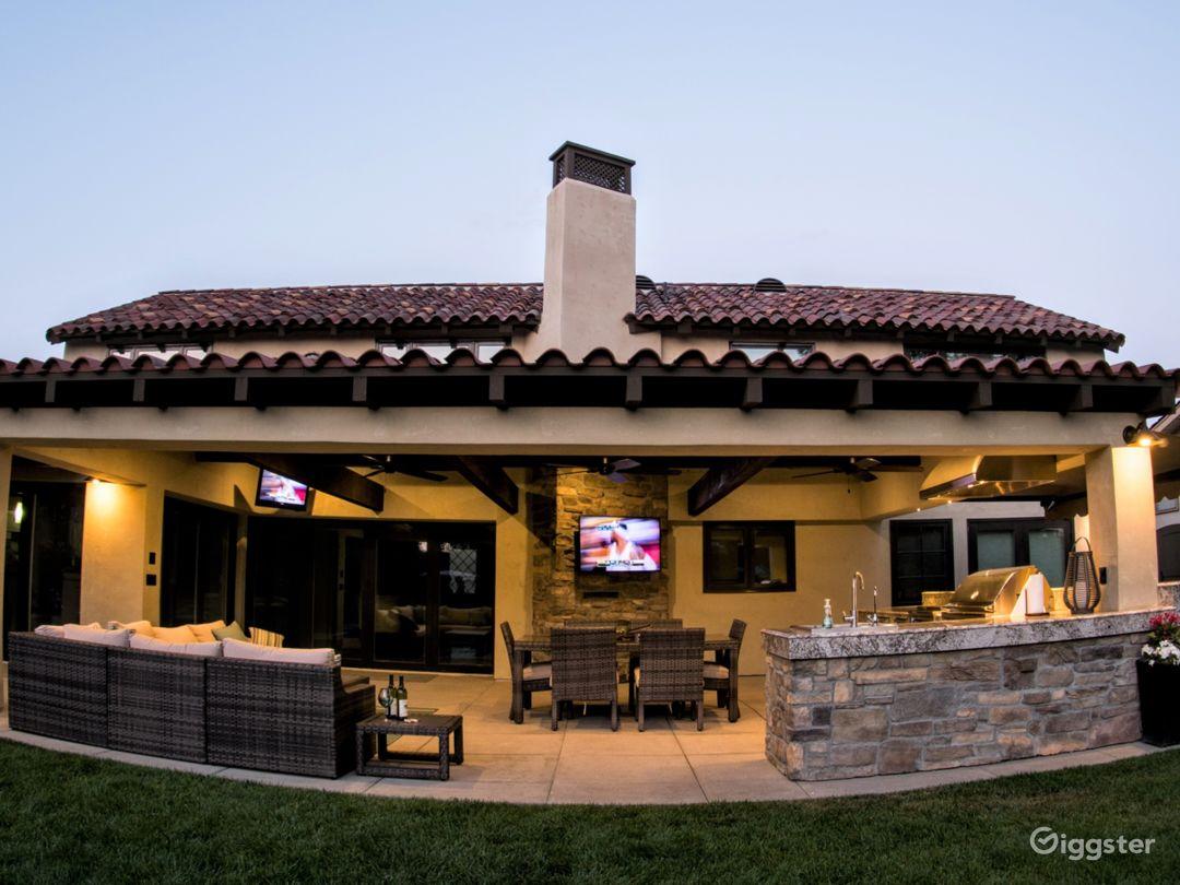View of backyard entertaining area