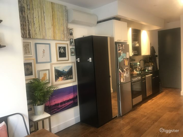 Gallery wall and galley kitchen