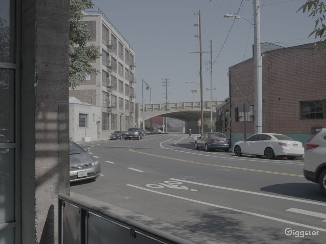 Patio view onto bridge and trendy restaurant opposite