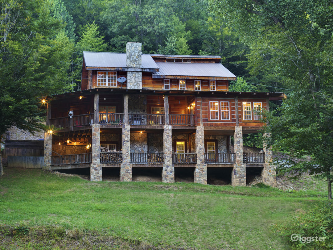 Rustic NC Ski Lodge made with antique reclaimed lumber nestled in the mountains just north of Asheville NC.
