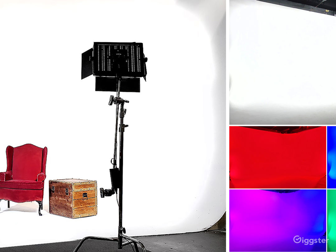 17' wide x 12' deep x 11' high corner white cyclorama with colored LED lighting grid