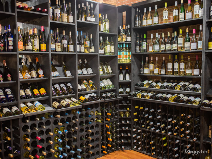 Retail Shop with White Wine Bottles