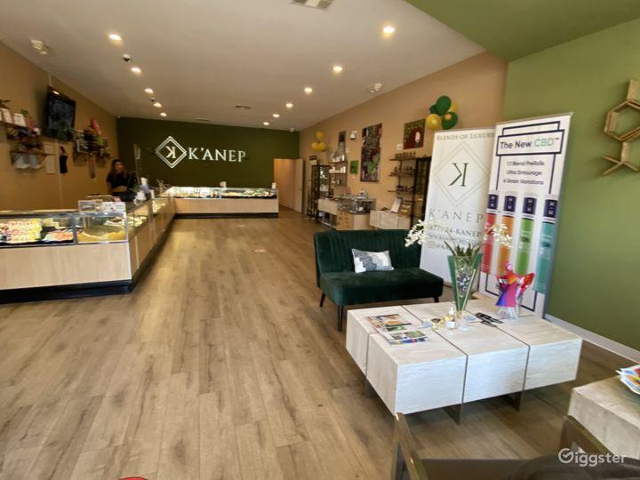 Modern, open floor plan retail shop with displays