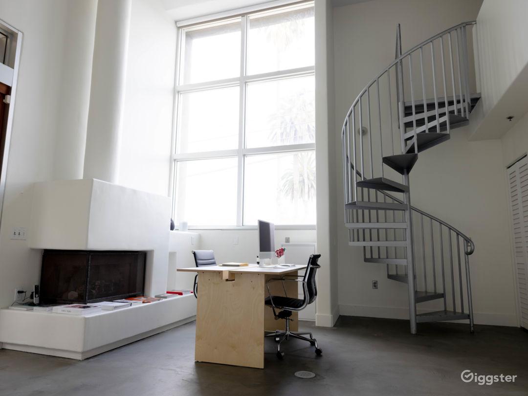 Work station inside studio