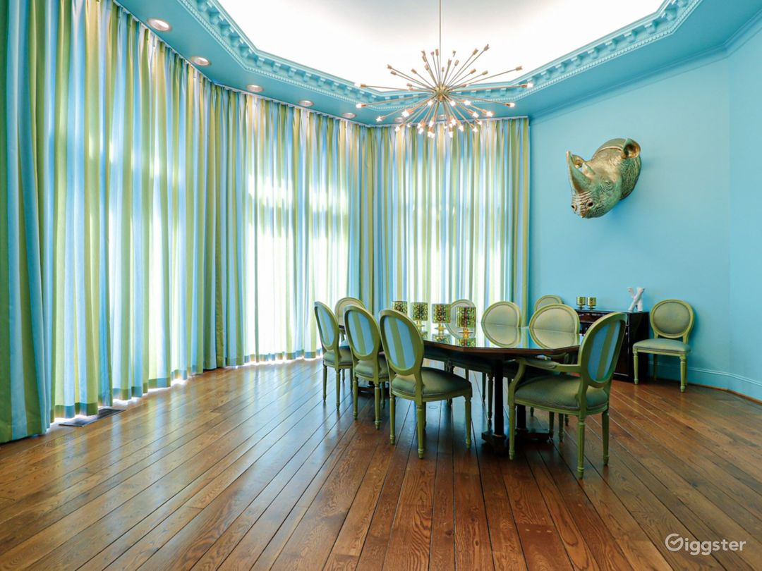 Tiffany blue octagonal room with bespoke starburst chandelier, concave backlit ceiling, hand pegged floor