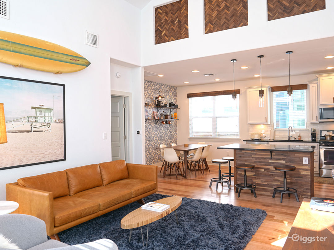 Bright, open Living Room with 22ft ceilings.