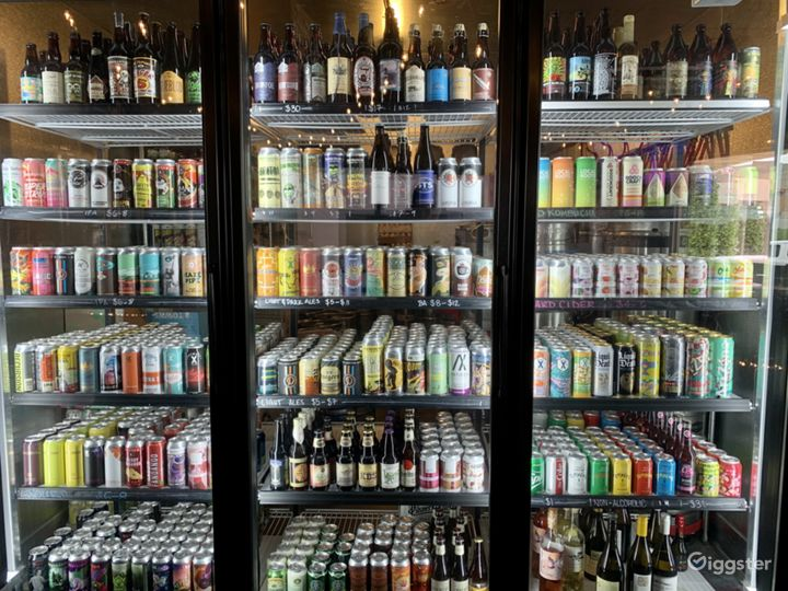 Bottle Shop with over 60 breweries represented including Russian River Pliny and Blind Pig.