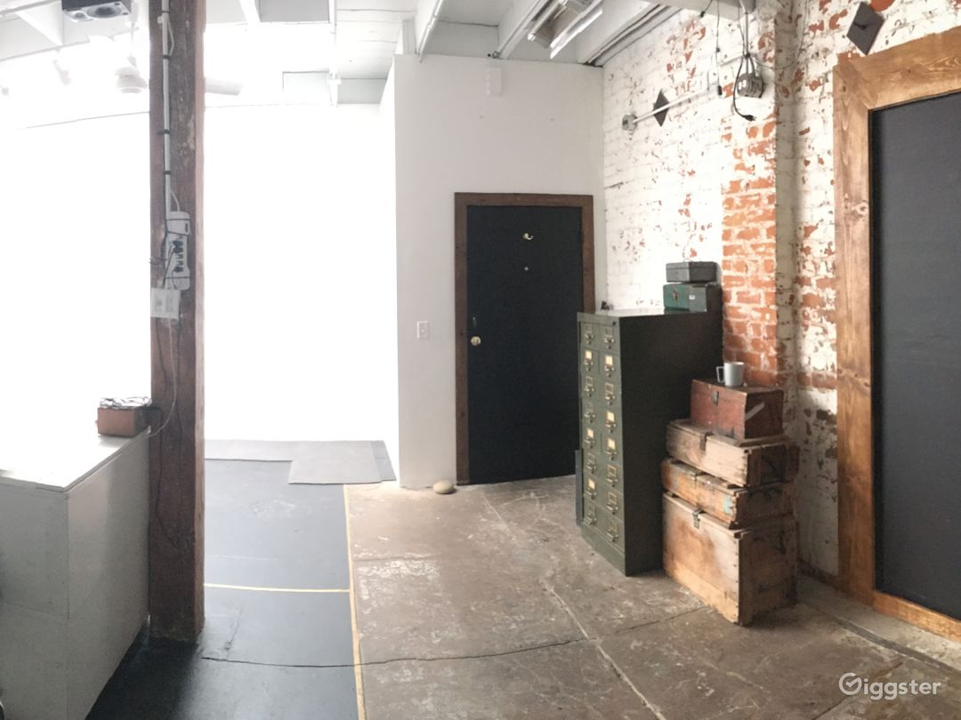 wide-angle of studio when given over empty