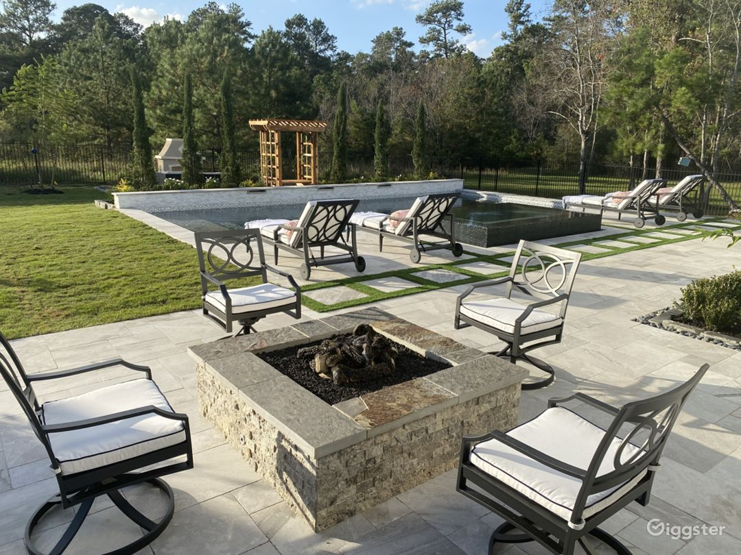 Gas fire pit overlooking pool