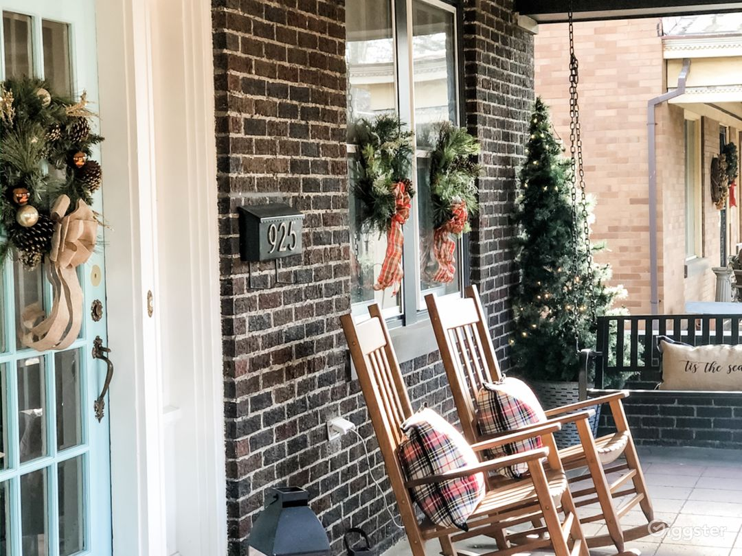 Beautiful front porch on tree lined street