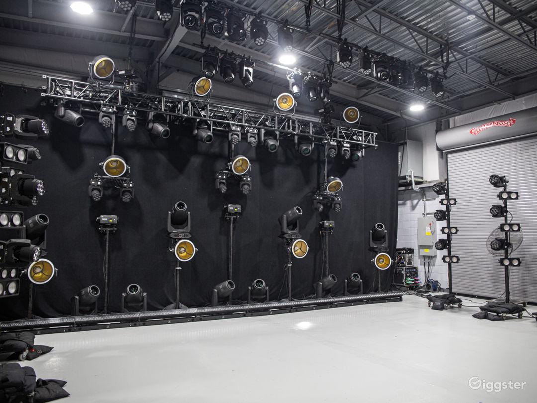 Clear stage under work lights