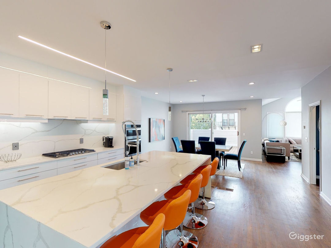 Majestic Contemporary Kitchen with white quartz, stainless steel appliances, and White Custom Cabinents