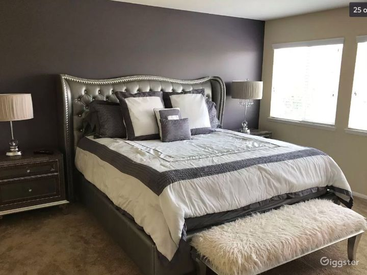 Carpeted master bedroom