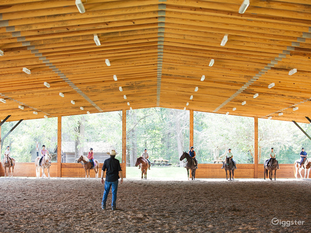 Our covered arena - total property is 524 acres, 250+ woods/trails and 250+ grasslands