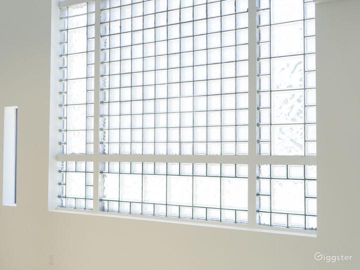 South facing 17' tall Art Deco Glass Tile Windows