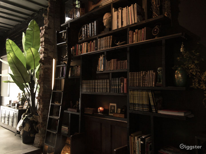 Library with antique books, objets d'art, church bench and  library ladder. 14ft ceilings. Opposite of large marble fountain and live plants.