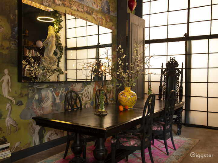10ft long dining table with kings chair.  Hieronymus Bosch (Garden of Earthly Delights) wall mural.  14ft ceilings, RH crystal prism chandelier, antique Turkish rug.