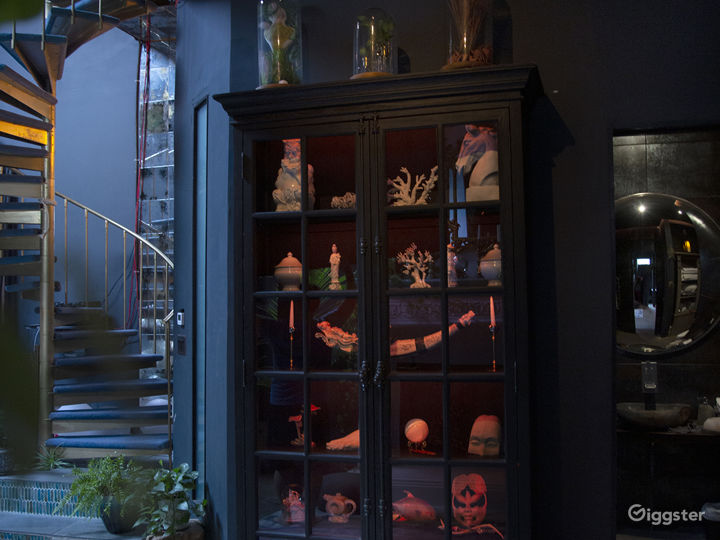 Fireplace area...large lighted cabinet of oddities
