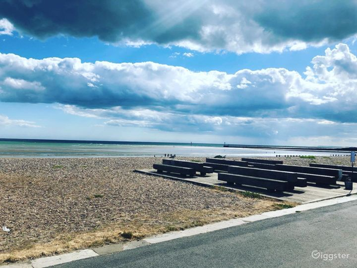 East Beach Cafe decking are alocated right on the shingle of Littlehampton beach