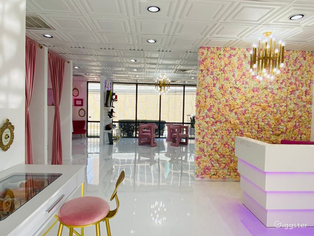 Our showroom has different hues and pink with white!