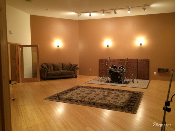 Live room with drum kit