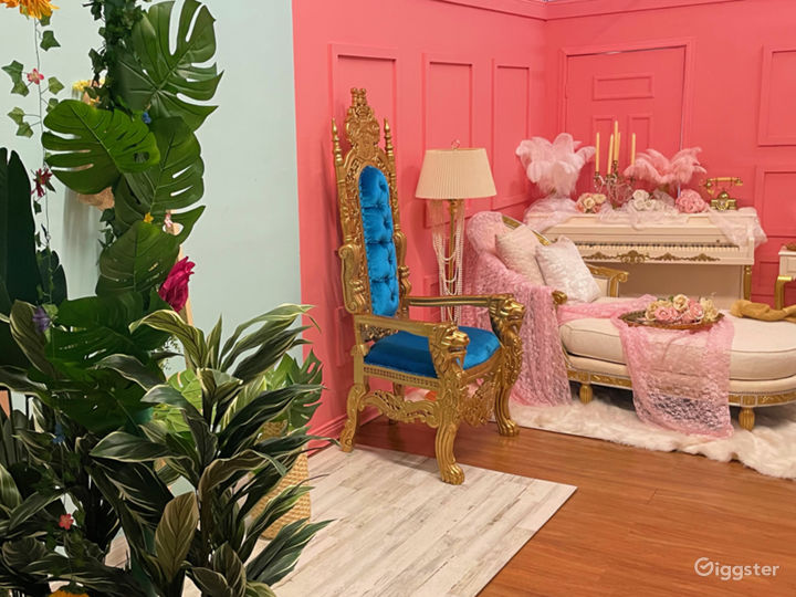 Tropical Garden Set  King Throne Chair  Piano Vintage Victorian Set  Tulum Set  Cyc Wall