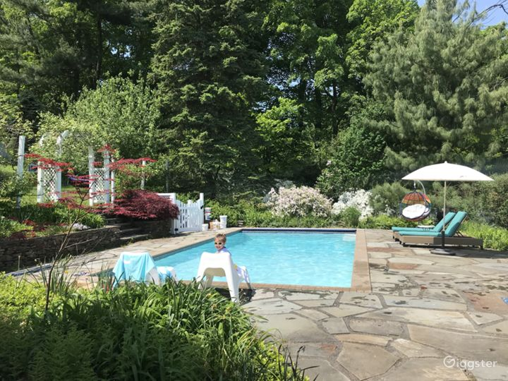 Swimming pool surrounded by greenery and towering mature trees.