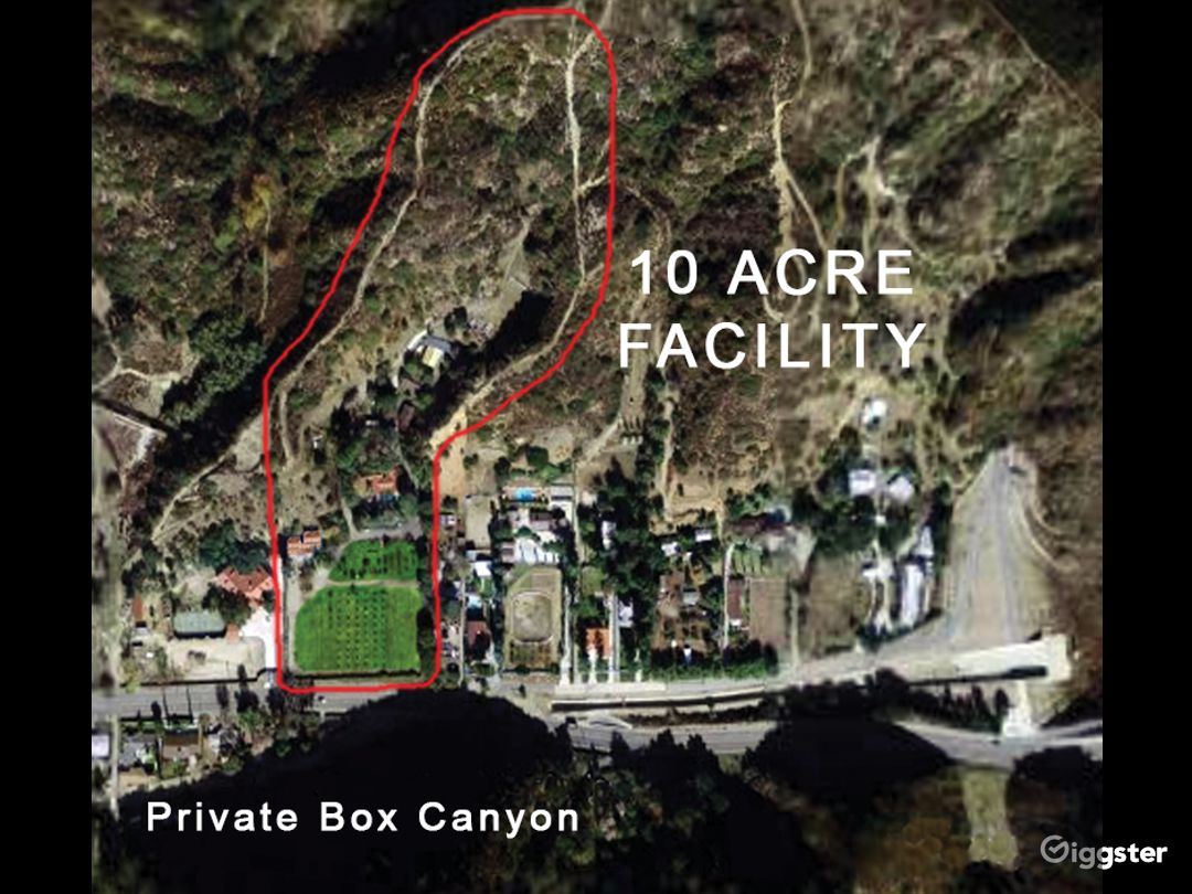 Ten acres (6½ Level acres on 11 terraces in a private box canyon circled in red) set in beautiful La Tuna Canyon, just 7 minutes from the Burbank/Hollywood Airport, fully powered (1000AMPS) with satellite distribution boxes for all areas.