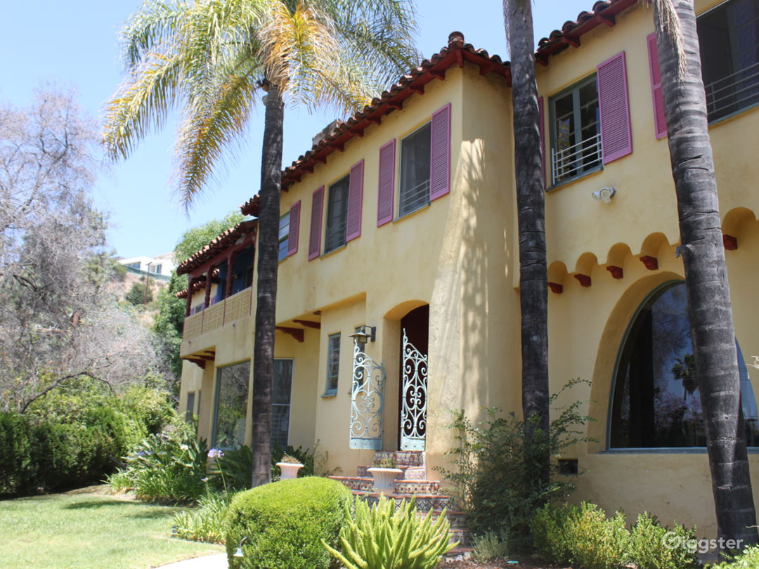 Front of our home which is colorful and unique Spanish/Mediterranean built in the 1930s with beautiful view of Glendale, Los Angeles, and even water on super clear day