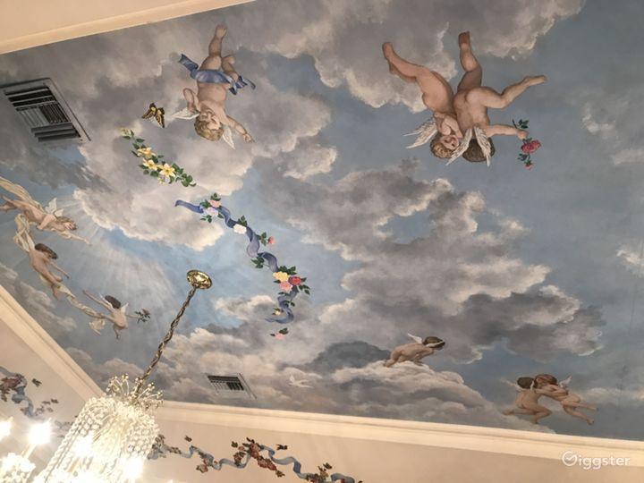 Original artwork of cherubs on the ceiling