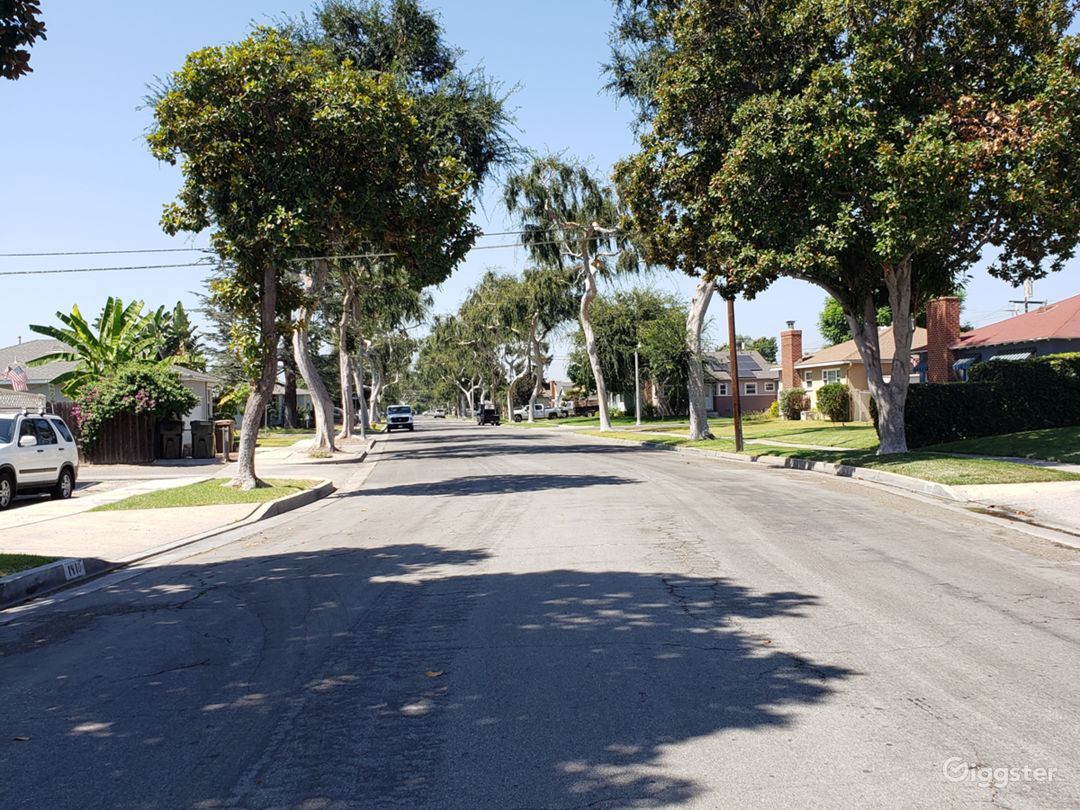 All residence in tree lined street. View taken from right of driveway.