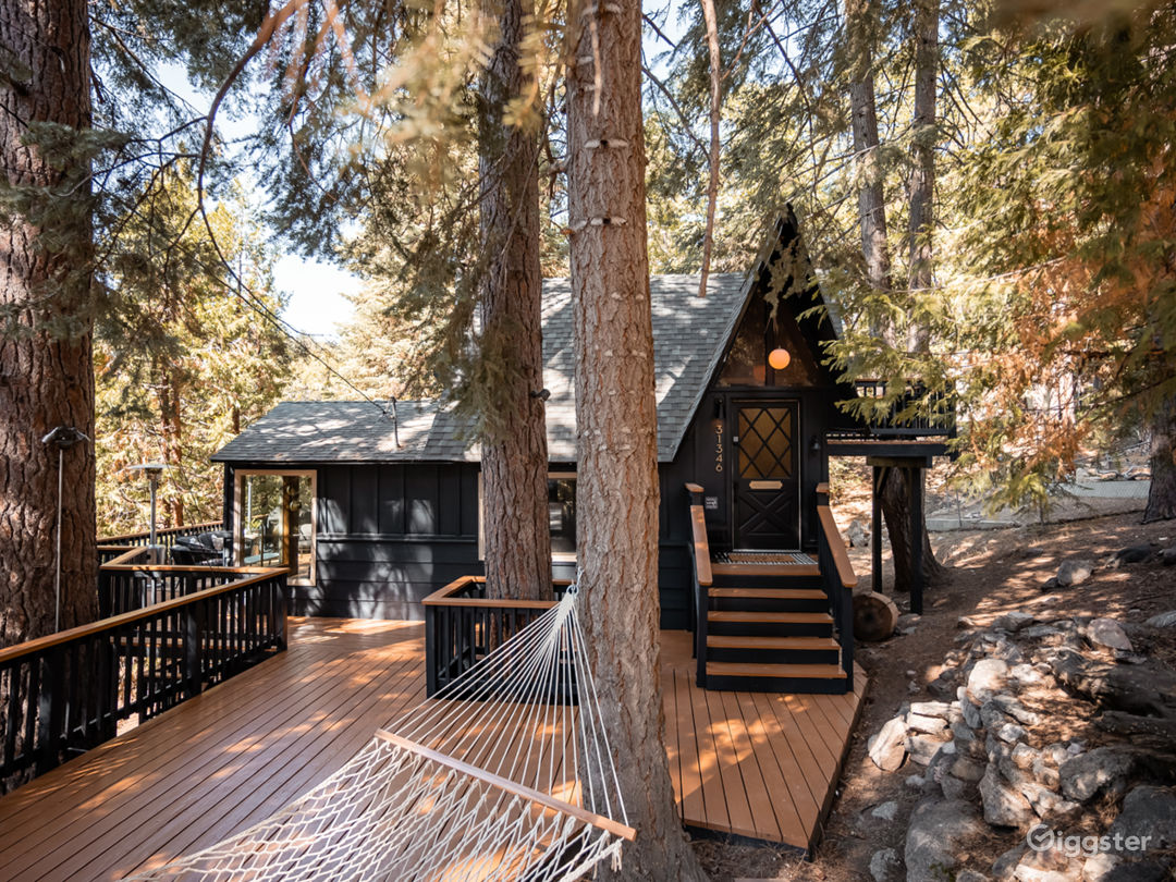 Black A-Frame Mid-Century Cabin in the Mountain Photo 1