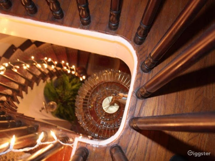 Spiral staircase view from top.