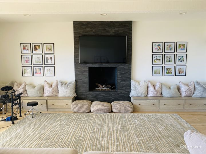 Family room/fireplace and movable drum set