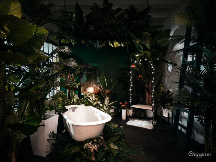 LUSH FLORA BATHTUB:  Lush and serene, this room features claw foot bath flanked by plants. Take a seat in our bird cage chair, or lounge in the tub and escape into a tropical paradise. This room has beautiful large windows with lots of light during the day