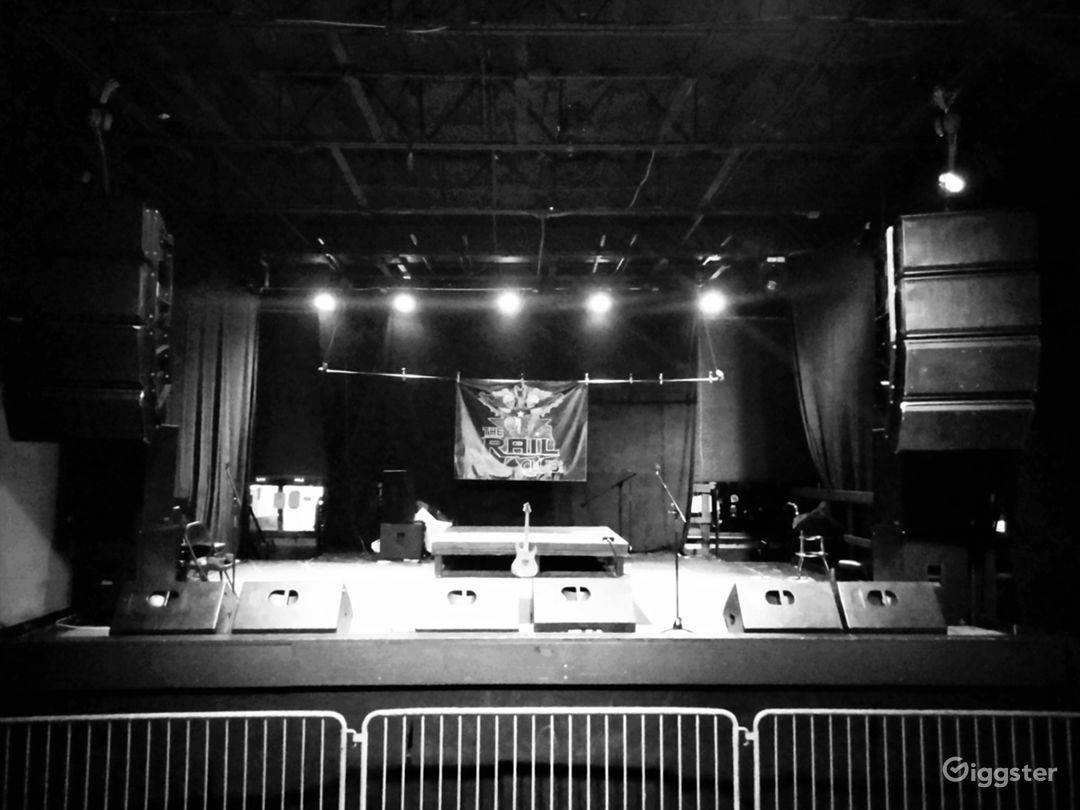 The 23 ft by 24 ft stage.  When the room is quite before an event starts getting set up .