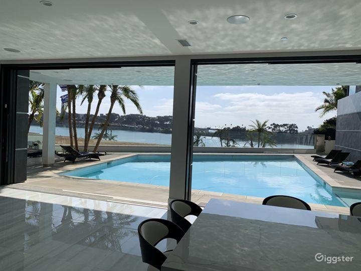 Sliding doors open to pool