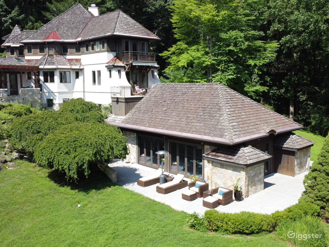 Entry view of the Chalet. Pool room at bottom right.