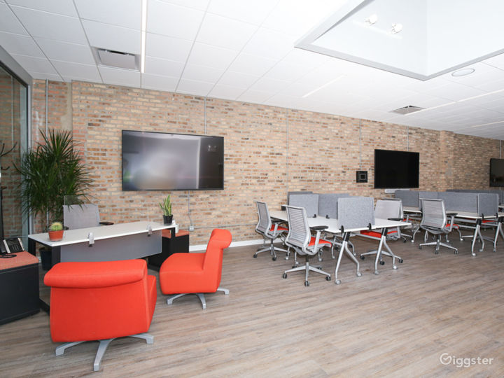 Front desk and coworking area