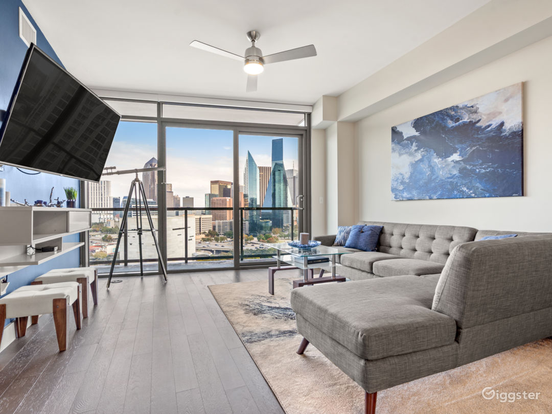 Floor to ceiling windows facing the Dallas Skyline. A view fit for royalty.