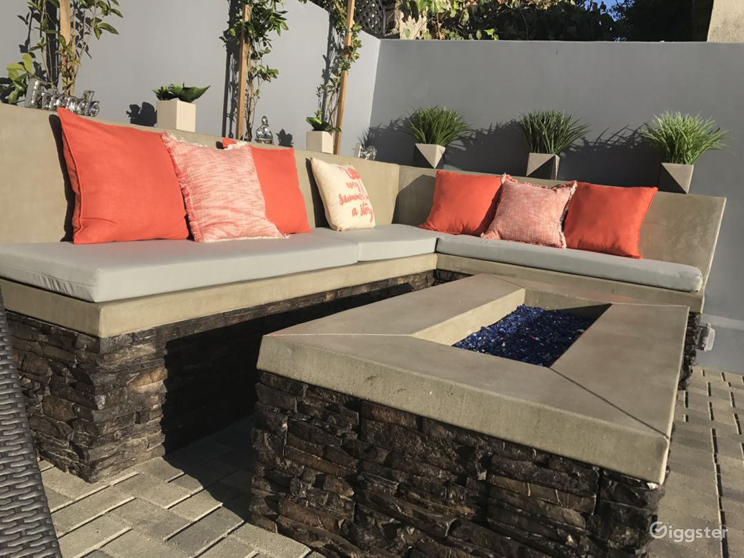 Fire-pit and built in bench.