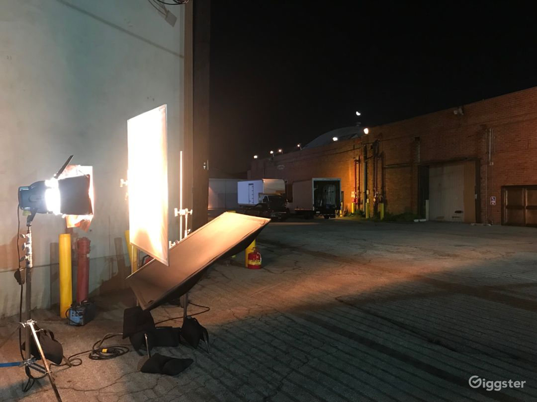Outdoor courtyard at night