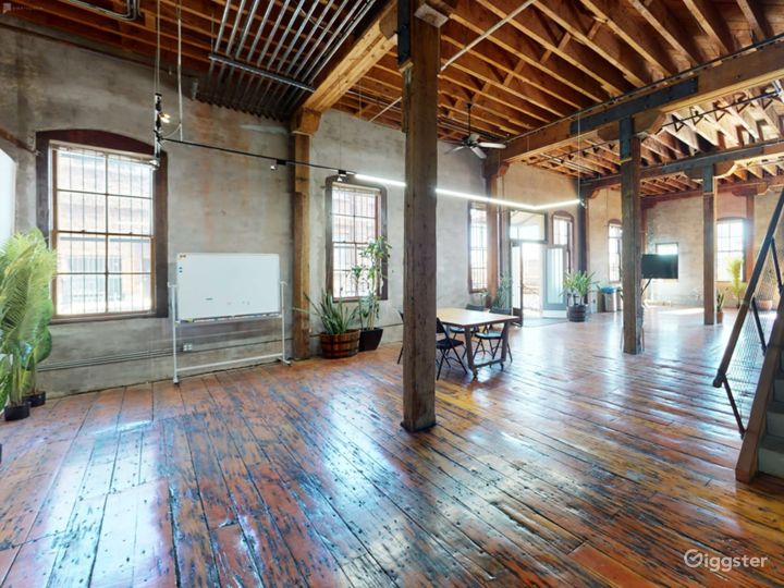 Warehouse space with redwood floors
