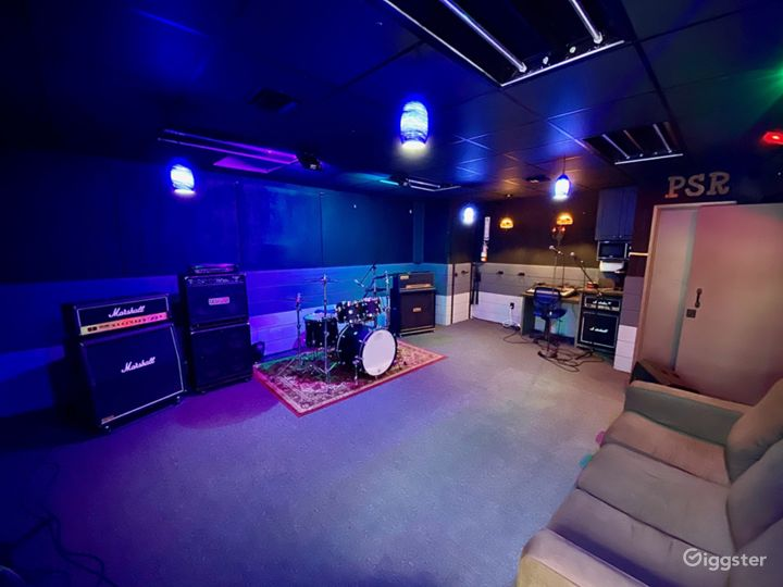 (A) The Rehearsal Room - includes drumkit, amps, kitchen, couch & bathroom. - 22- Channel Mixer