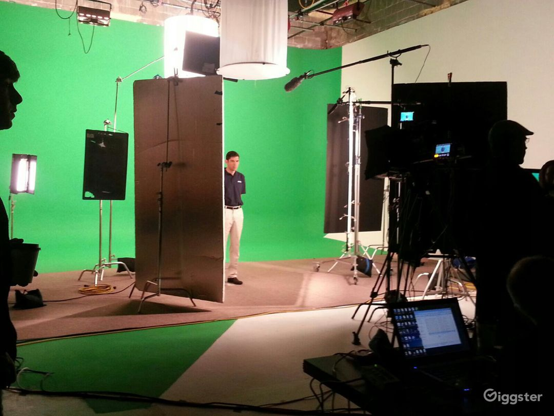 Large studio with green screen and sets