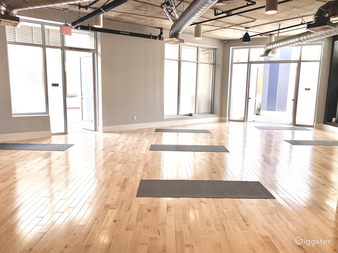 The yoga studio is bright and spacious with lots of natural light.