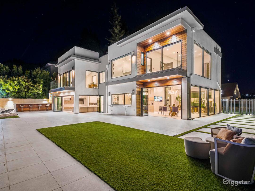 Luxury Mansion Twilight Exterior