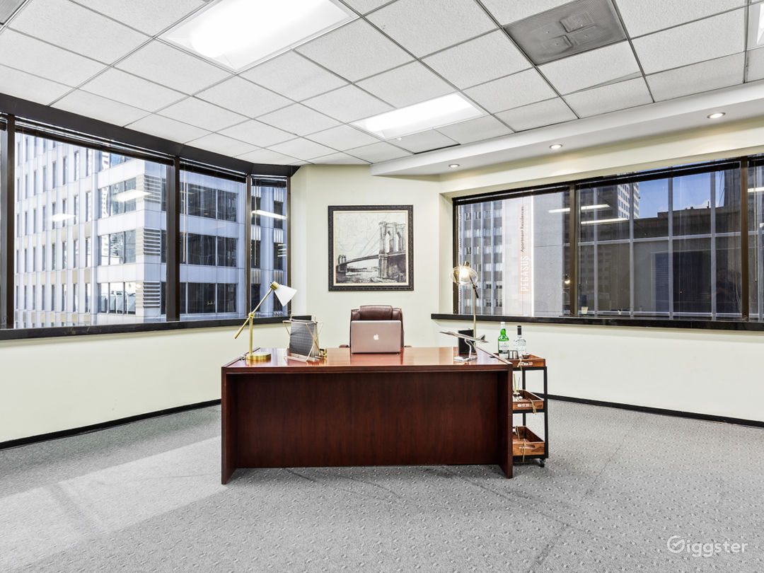 Executive corner office with views of downtown. Staging available upon request.