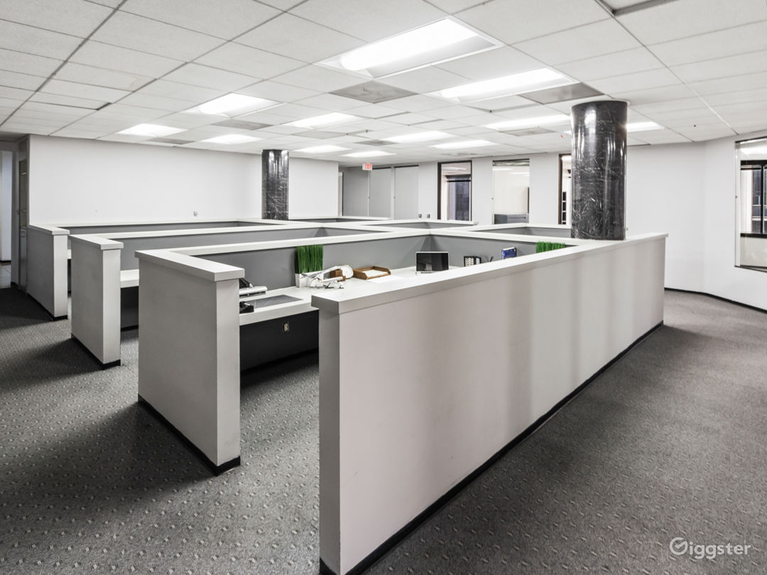 Recently painted modern office cubicle space. Staging available upon request