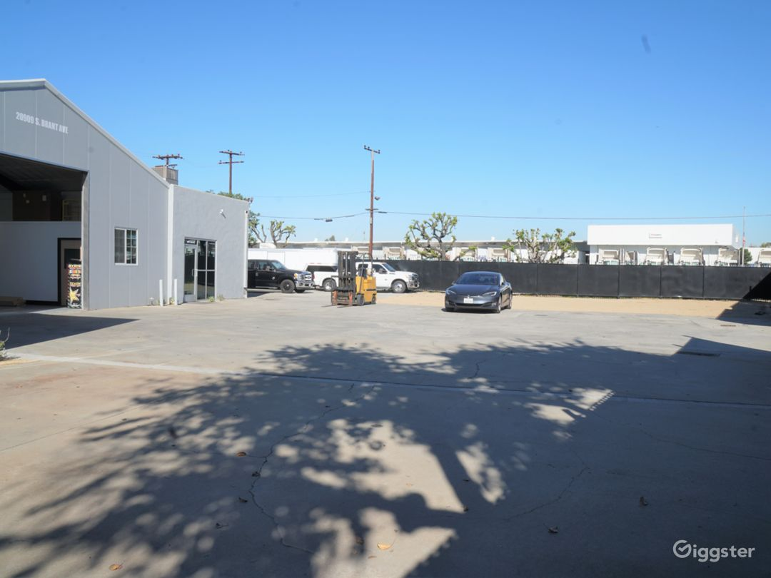 Private lot with parking or additional filming location.